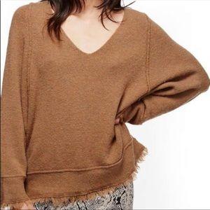 Free people brown sweater wool lined blend medium